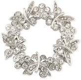 Carolee Silver-Tone Crystal Butterfly Wreath Pin