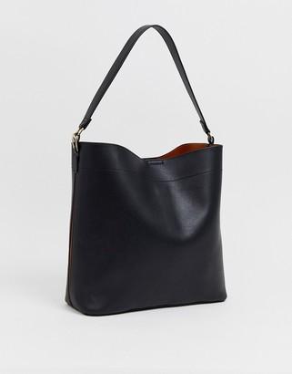 Asos Design DESIGN oversized structured shopper bag with contrast detail-Black