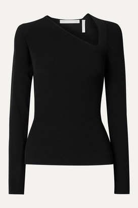 Helmut Lang Cutout Ribbed-knit Top - Black