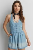 American Eagle Outfitters AE Denim Lace-Up Romper