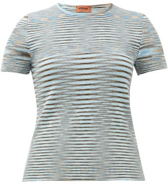 Missoni Moire-knit Round-neck Cotton Top - Womens - Blue Multi