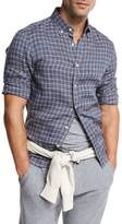 Brunello Cucinelli Plaid Leisure-Fit Sport Shirt, Indigo