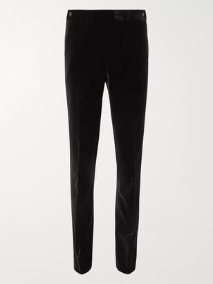 The Row Black Gregory Cotton-Velvet Tuxedo Trousers