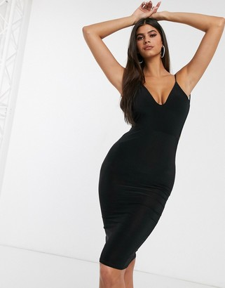 Club L London open back midi dress with ruched back detail in black