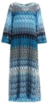 Missoni Metallic Leaf Print Maxi Dress - Womens - Blue Multi