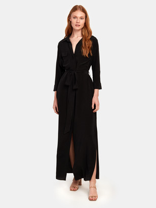 L'Agence Cameron Long Silk Shirt Dress