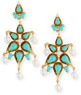 Oscar de la Renta Cabochon Pear Drop Clip Earrings