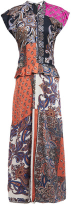 Chloé Patchwork-effect Printed Satin-twill Peplum Maxi Dress