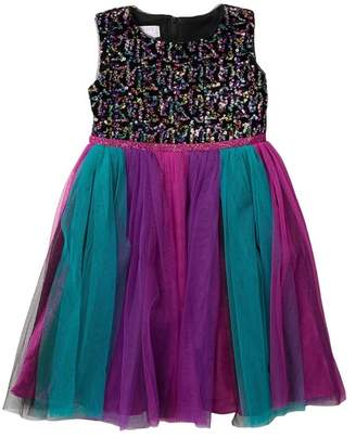 Iris & Ivy Multi-Colored Bright Sequin Bodice with Mesh Dress (Little Girls)
