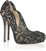 Jimmy Choo Faith lace and patent-leather pumps