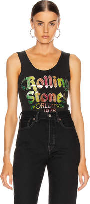 MadeWorn The Rolling Stones World Tour '78 Lace Tank in Coal | FWRD