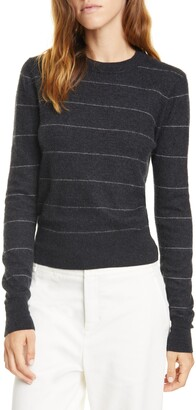 Vince Stripe Fitted Cashmere Crewneck Sweater