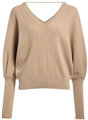 Brunello Cucinelli Cashmere Puff-Sleeve V-Neck Sweater