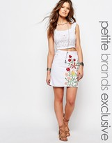 Glamorous Petite Denim Aline Skirt With Floral Embroidery
