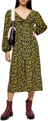 Topshop Floral Godet Twist Front Long Sleeve Midi Dress