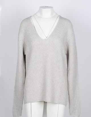 NOW Beige Cashmere and Wool Women's V-Neck Sweater