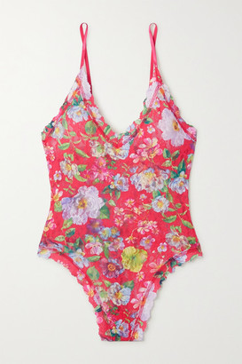 Hanky Panky Superbloom Scalloped Floral-print Stretch-lace Thong Bodysuit - Red