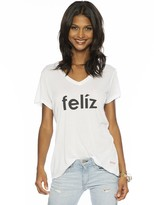 Peace Love World Feliz Mini Mimi V-Neck Tee