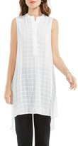 Vince Camuto Women's Check Split Neck Tunic