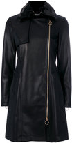Twin-Set leather effect fitted coat