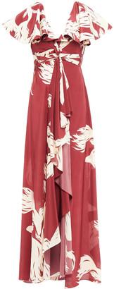 Johanna Ortiz Sangria Asymmetric Printed Silk Maxi Dress