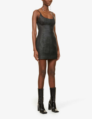 Alexander Wang Scoop-neck leather mini dress