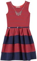 Knitworks Girls 7-16 Striped Texture Skater Dress