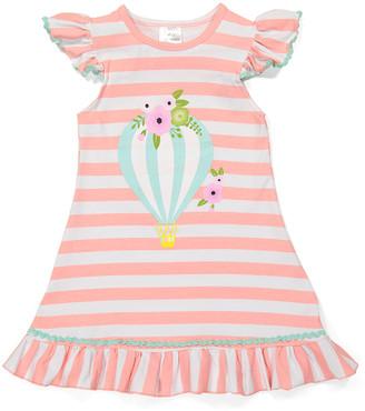 Royal Gem Girls' Casual Dresses Pink - Pink Stripe Hot Air Balloon Up & Away Angel-Sleeve Dress - Newborn, Infant, Toddler & Girls