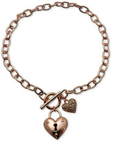 GUESS Rose Gold-Tone Heart Duo Pendant Necklace