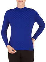 Allison Daley Petite Mock Neck Solid Pullover Sweater