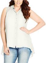 City Chic Trendy Plus Size Lace-Back Blouse