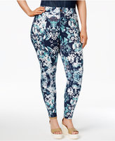 Hue Women's Plus Size Bouquet Printed Essential Denim Skimmer Leggings