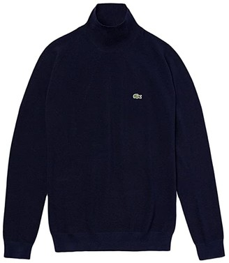 Lacoste Long Sleeve Roll Neck Cotton Sweater (Navy Blue) Women's Clothing