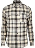 River Island Mens White casual check flannel shirt