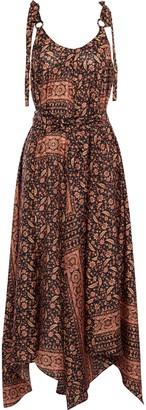 Zimmermann Asymmetric Draped Printed Silk Midi Dress