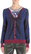 Moschino Wool Faux-Cardgian Print Sweater