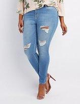 Charlotte Russe Plus Size Refuge Skin Tight Legging Destroyed Jeans