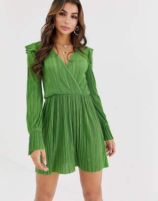 Asos Design DESIGN mini wrap front plisse tea dress-Green