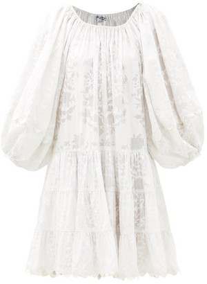 Juliet Dunn Balloon-sleeve Palladio Block-print Cotton Dress - White
