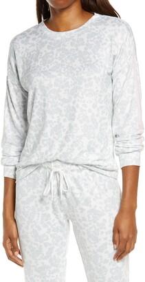 PJ Salvage Ciao Stripe Sleeve Leopard Print Pullover