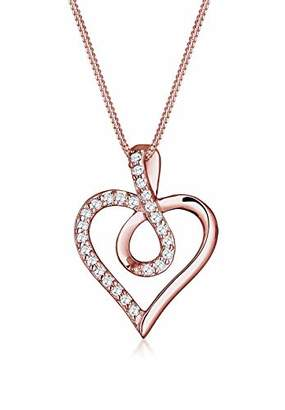 Elli Infinity Heart Cubic Zirconia 925 Sterling Silver Rose Gold Plated Necklace of Length 45cm