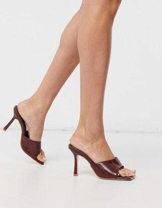 Public Desire Harlow square toe mule sandals in brown croc
