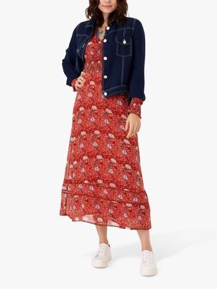 Brora Folk Print Silk Dress, Marigold