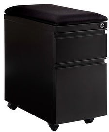 Seville Classics airLIFTA 2-Drawer Pedestal File Cabinet with Seat Cushion