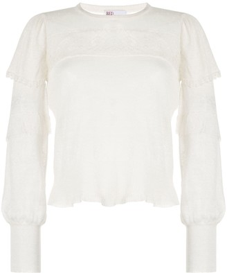 RED Valentino Lace-Detail Ruffled Top