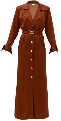 Dodo Bar Or Tamara Belted Satin Shirt Dress - Brown
