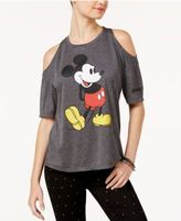 Disney Juniors' Mickey Mouse Cold-Shoulder Graphic T-Shirt