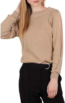 Molly Bracken Sheer Long-Sleeve Sweater