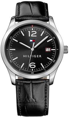 Tommy Hilfiger Men's Essentials Croc Embossed Leather Watch, 41mm