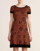 M Missoni Rose Printed Boat Neck Knit Dress